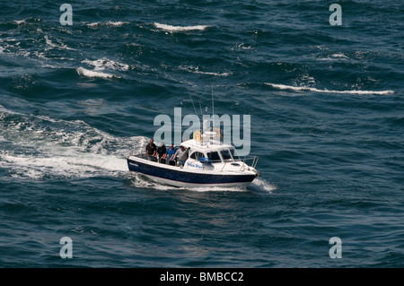 private fishing vessel taking part in search for missing diver off Skomer Island 28/05/10 - Stock Photo