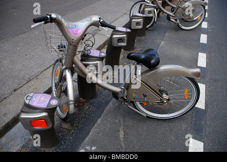 Velib bicycle stand in Paris, France - Stock Photo