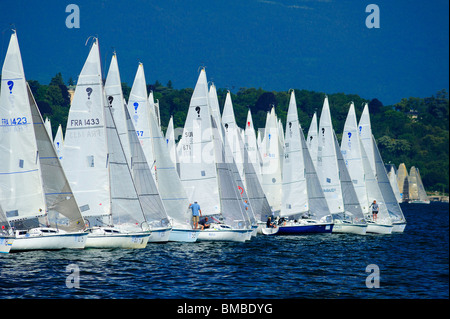 The start of the Bol d'Or yacht race on lac Leman (Lake Geneva) 2009. Space for text in the sky. - Stock Photo