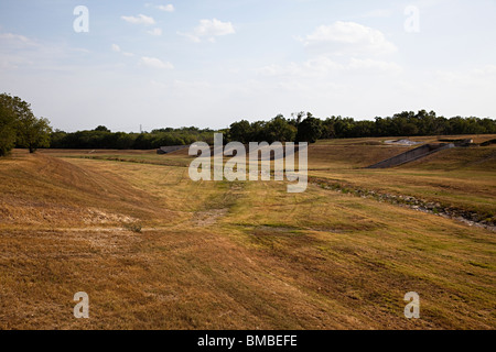 Dry section of San Antonio River in drought conditions San Antonio Texas USA - Stock Photo