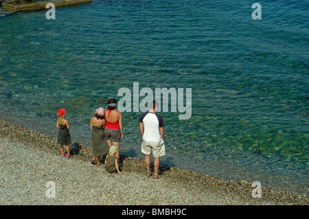 Calliore, France, Family on Holiday in South of France Coastal Town, Near Perpignan, - Stock Photo