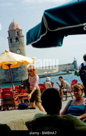 Calliore, France, Tourists on Holiday in South of France Coastal Town, Near Perpignan, street café scene European - Stock Photo
