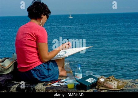 Calliore, France, Tourist Woman on Holiday in South of France, Coast Near Perpignan, - Stock Photo