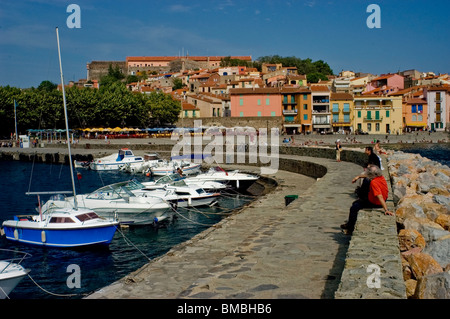 Calliore, France, Tourists on Holiday in South of France Coastal Town, Near Perpignan, Port  Scene - Stock Photo