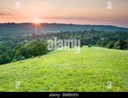Sunset at Box Hill, North Downs, Dorking, Surrey, UK - Stock Photo