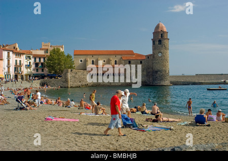 Calliore, France, Tourists on Holiday in South of France Coastal Town, Near Perpignan, - Stock Photo
