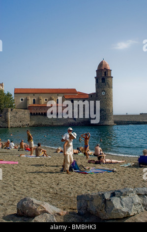 Calliore, France, Tourists on Beach Holiday in South of France Coastal Town, Near Perpignan, - Stock Photo