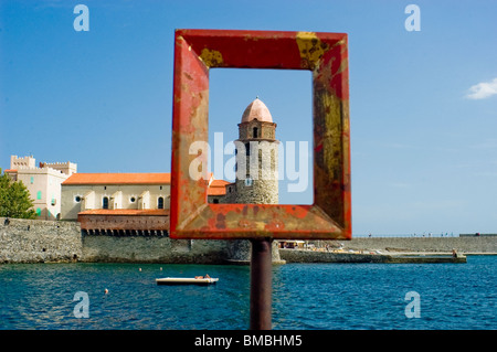 Calliore, France, Beach Scene, Frame with French Monument in South of France Coastal Town, Near Perpignan, - Stock Photo