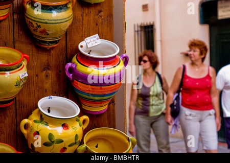Callioure, France, Women Tourists on Holiday in South of France Coastal Town, Shopping, (Near Perpignan), Local - Stock Photo