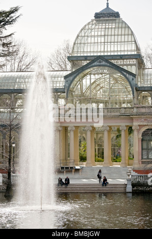 The Palacio de Cristal, Crystal Palace, in The Retiro Park in the centre of Madrid, Spain - Stock Photo