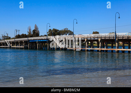 The Old Mandurah Bridge spanning the Mandurah Estuary - Stock Photo