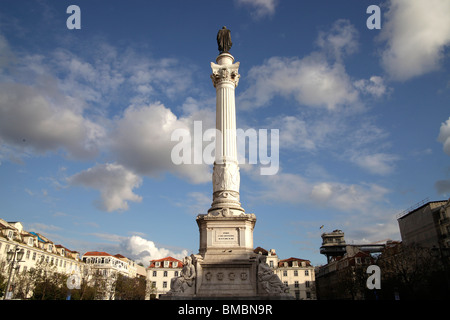 statue of King Dom Pedro IV on the square Praca de Dom Pedro IV or Rossio in Lisbon, Portugal, Europe - Stock Photo
