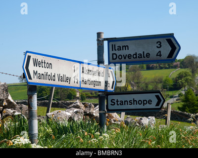 Traffic signs in the road, Peak District Derbyshire England UK - Stock Photo