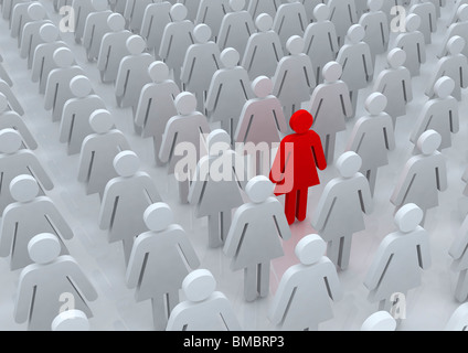 unique person symbol among a group of feminine people symbol - Stock Photo