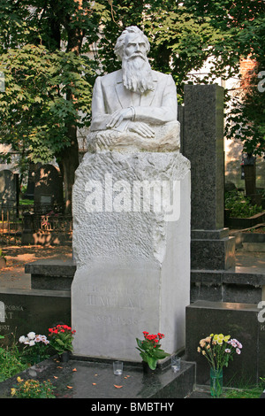Grave of the Soviet Belarusian scientist and explorer of the Arctic Otto Yulyevich Schmidt (1891-1956) at Novodevichy - Stock Photo