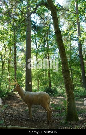 Archery target practice. Life like Deer in Surrey wood. Uk HOMER SYKES - Stock Photo