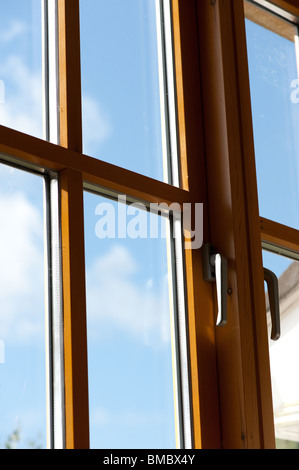 Double glazed wooden window frame in the home. - Stock Photo