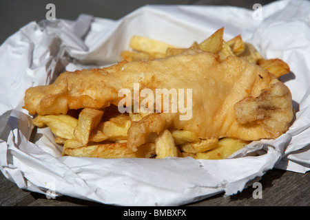 traditional english cod fish and chips england uk - Stock Photo