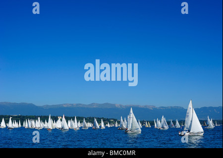 The start of the Bol d'Or yacht race on lac Leman (Lake Geneva) 2009 with the Jura mountains in the background. - Stock Photo