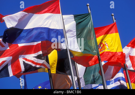 Flags of the Flags of the European Union EU countries flying EU countries flying at La Defense Paris France EU Europe - Stock Photo