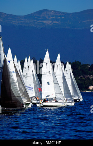 The start of the Bol d'Or yacht race on lac Leman (Lake Geneva) 2009, with the Jura mountains in the background. - Stock Photo