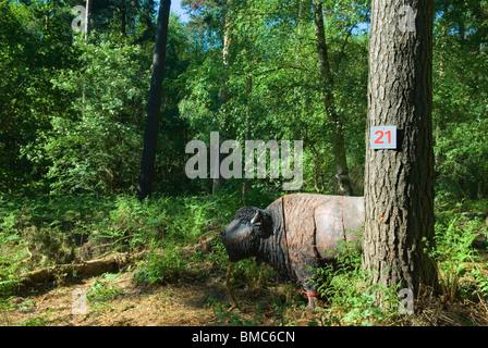 Archery target practice. Bison in Surrey wood. Uk HOMER SYKES - Stock Photo