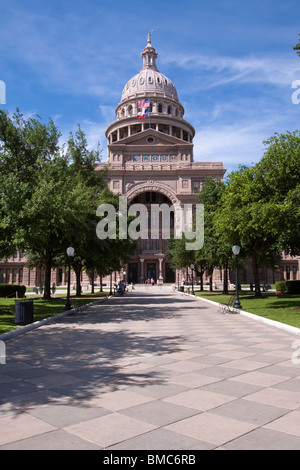 Front entrance of Texas state capitol building or statehouse in Austin - Stock Photo