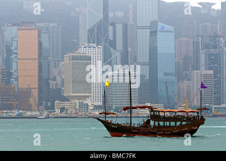 Aqualuna Junk, Victoria Harbour, Hong Kong, SAR of China - Stock Photo