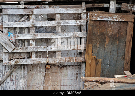 Weathered stained wood grunge background. Old barn detail. - Stock Photo