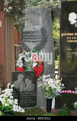 Grave of the Soviet politician and diplomat Vyacheslav Mikhailovich Molotov (1890-1986)  at Novodevichy Cemetery - Stock Photo