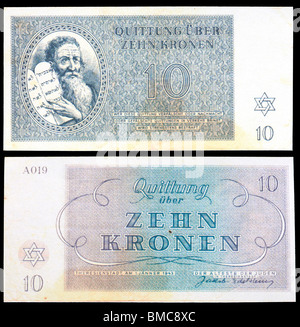 Money from the Teresienstadt Ghetto (1943) issued by Nazis. Moses holding the Ten Commandments. Zehn Kronen / Ten - Stock Photo