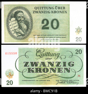 Money from the Teresienstadt Ghetto (1943) issued by Nazis. Moses holding the Ten Commandments. Zwanzig Kronen / - Stock Photo