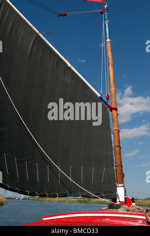 Mast and sail of the historic Norfolk trading wherry Albion - Stock Photo