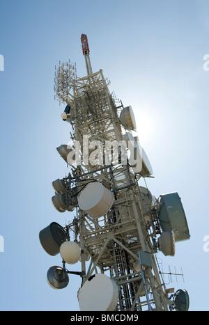 satellite communication mast - Stock Photo