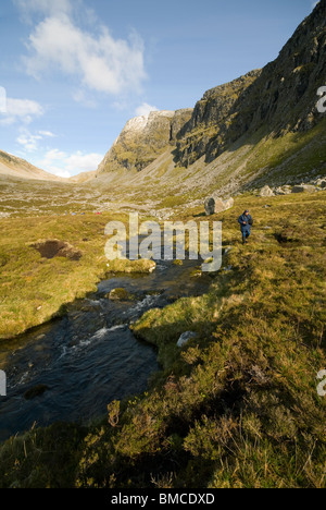 The river Lael below the cliffs of Beinn Dearg, Inverlael Forest, east of Ullapool, Highland Region, Scotland, UK - Stock Photo
