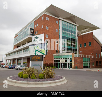 The Princess Royal stand at Aintree racecourse the home of the Grand National steeplechase. - Stock Photo