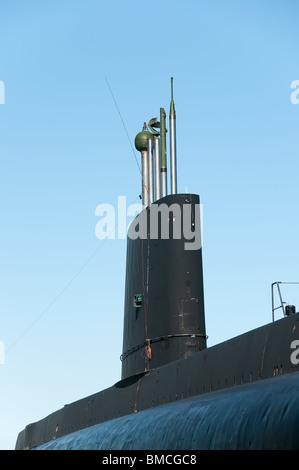 submarine chimney of the Onondaga anchored in Pointe-au-Pere, Rimouski, Quebec - Stock Photo