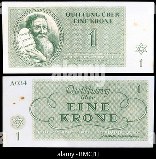 Money from the Teresienstadt Ghetto (1943) issued by Nazis. Moses holding the Ten Commandments. Eine Krone / One - Stock Photo