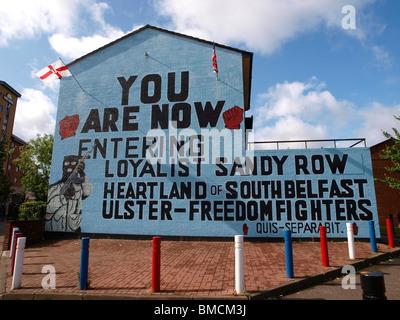 Ulster-Freedom Fighters UFF Loyalist mural Sandy Row Belfast - Stock Photo