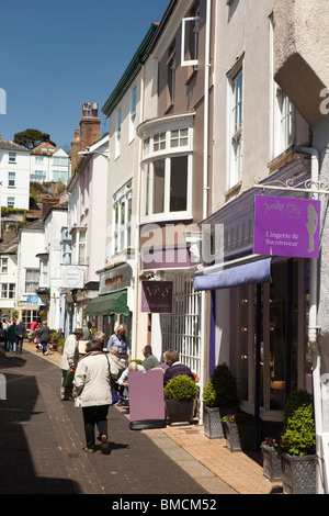 UK, England, Devon, Dartmouth, Foss Street, shoppers in narrow old pedestrianised street - Stock Photo
