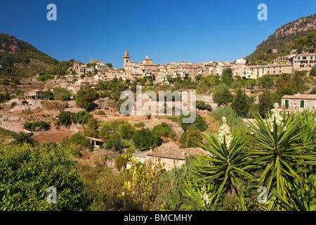 Valldemossa hilltop town in summer Majorca Mallorca Spain Europe - Stock Photo