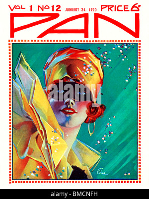 Pan, 24 January 1920, art deco cover of the English literary magazine, a stunning illustration of a girl at a masked - Stock Photo