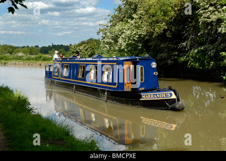 A narrowboat on the Grand Union Canal at Cosgrove, Northamptonshire, 2010. - Stock Photo