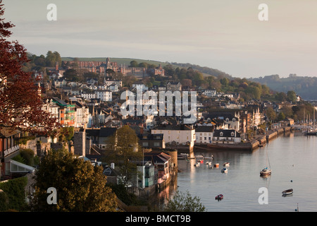 UK, England, Devon, Dartmouth, elevated view of riverfront, early morning - Stock Photo