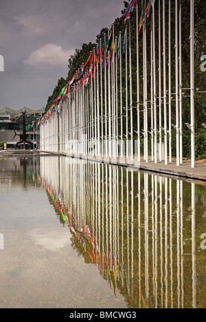 Flags from all Nations at the former Expo 1998 Parque das Nacoes in Lisbon, Portugal, Europe - Stock Photo