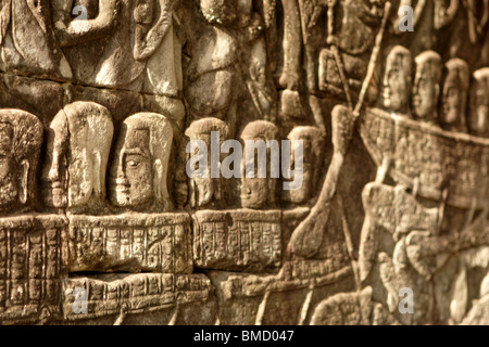 bas-reliefs depicting the churning of the sea of milk from Hindu myth. Eastern gallery, Angkor Wat temple, Cambodia - Stock Photo