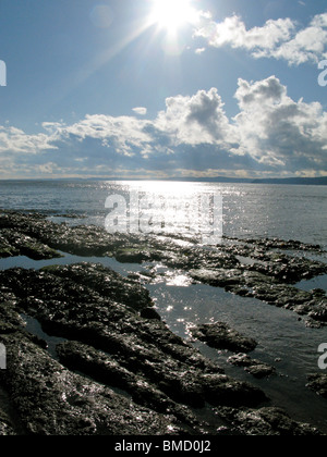 The sun shines on some beach rocks and the sea. The sky is blue with patches of cloud. - Stock Photo