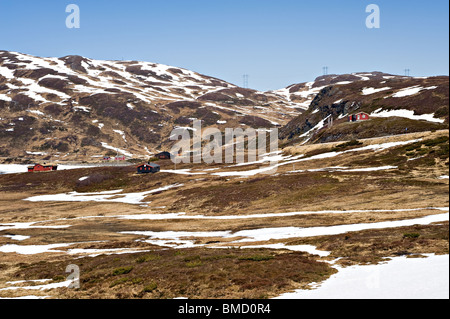 Remote Holiday Homes near Malset in Sognefjorden Vik Sogn Norway - Stock Photo