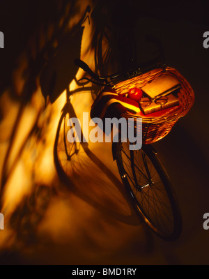 Students Cycle with Basket and Shadows - Stock Photo