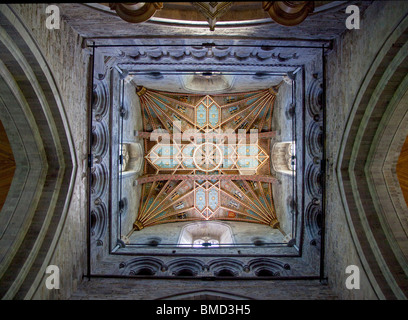 Part of the Ornate Ceiling in St Davids Cathedral, Pembroke, Wales - Stock Photo